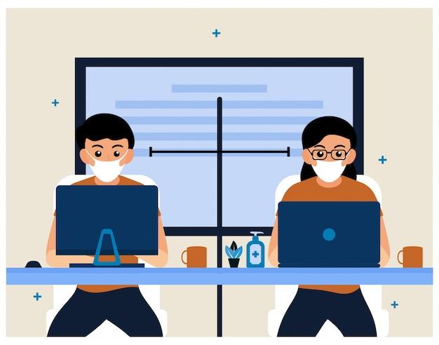 Mensen houden afstand op de werkplek. platte kantoorinrichting
