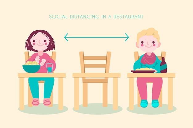 Mensen houden een lege tafel tussen hen in
