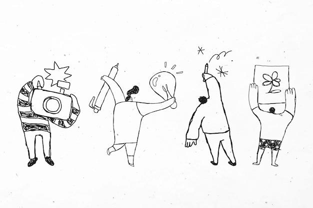 Mensen houden hun creativiteit vector schattige doodle pictogrammen set