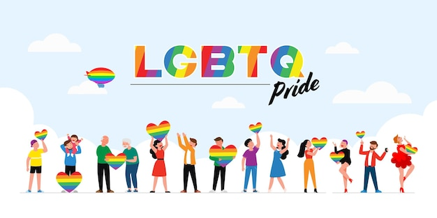 Mensen houden lgbt-regenboog en transgendervlag tijdens de viering van de trotsmaand tegen geweld