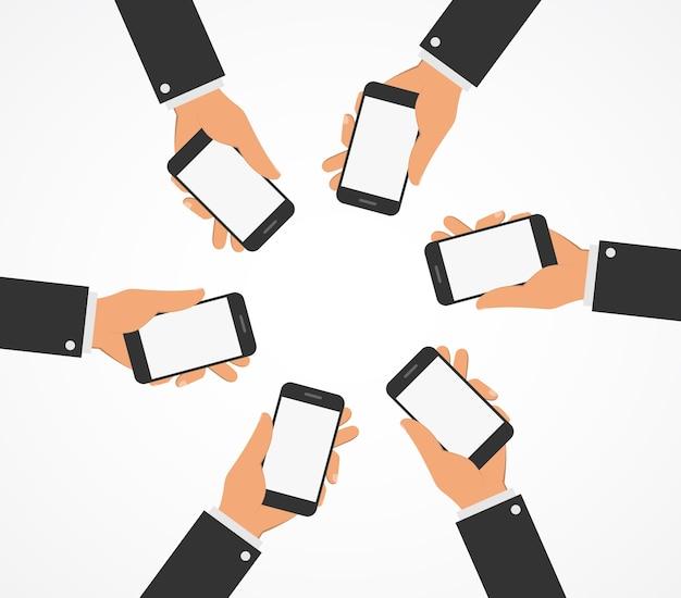 Mensen houden mobiele telefoons. vlakke stijl.