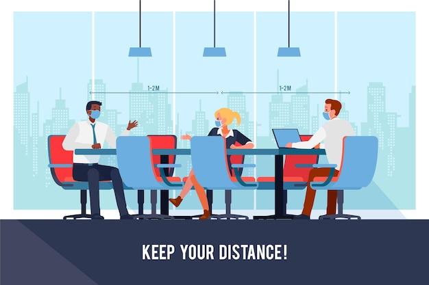 Mensen houden sociale afstand in zakelijke bijeenkomst