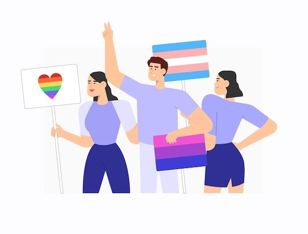Mensen houden spandoeken en borden met lgbt-regenboog biseksuele vlag en trensgendervlag