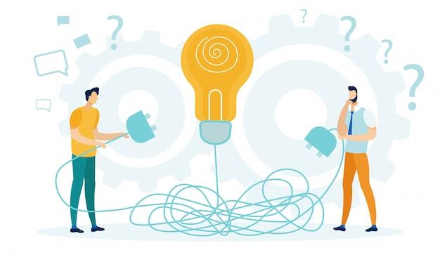 Mensen houden stekker van lamp, ideeën genereren.