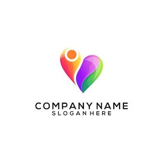 Mensen houden van abstract logo