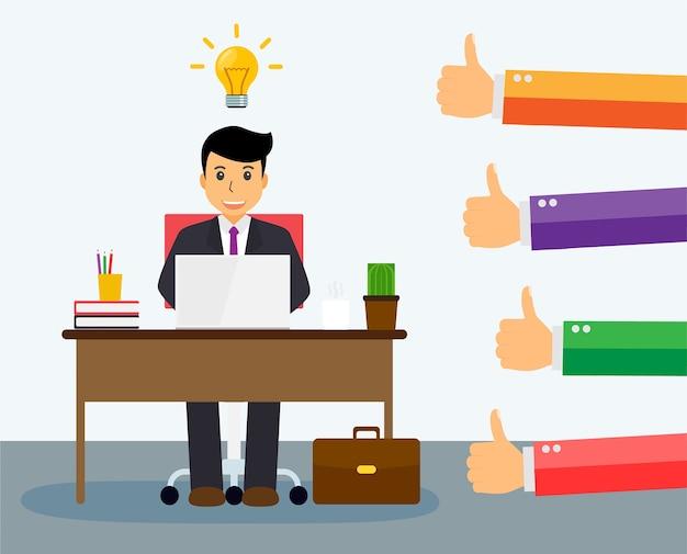Mensen houden van en geven een duimpje aan het goede idee