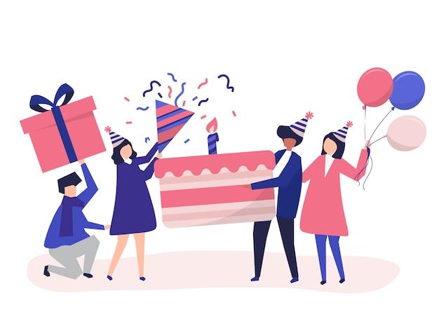 Mensen houden van pictogrammen voor verjaardagsfeestjes