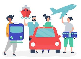 Mensen houden van verschillende transport pictogrammen