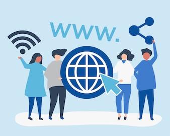 Mensen houden van wereldwijde web iconen