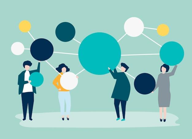 Mensen houden verbonden pictogrammen van de exemplaarruimtecirkel