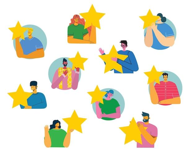 Mensen houden vijf sterren vast en geven positieve feedback