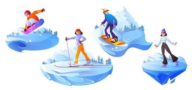 Mensen houden zich bezig met wintersport actieve recreatie set