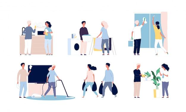Mensen huis schoonmaken. familie huiswerk dagelijkse routines wassen en schoonmaken van huisaccessoires gestileerde personages
