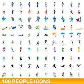 Mensen iconen set, cartoon stijl