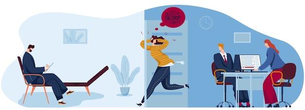 Mensen in angst paniek platte concept vectorillustratie. cartoon paniekerig benadrukt vrouw karakter loopt naar psychotherapeut
