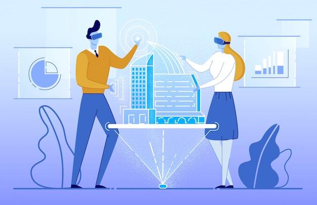 Mensen in augmented reality-bril zie gebouw.