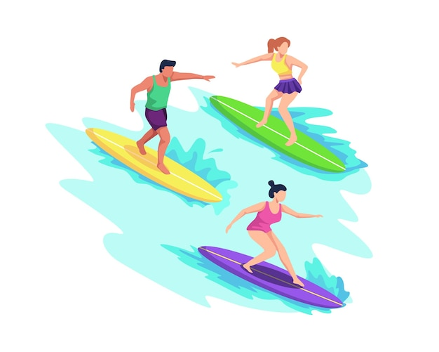 Mensen in badkleding die in zee of oceaan surfen, golven rijden, zwemmen met surfplanken. zomersporten en recreatieve buitenactiviteiten op het strand. in een vlakke stijl