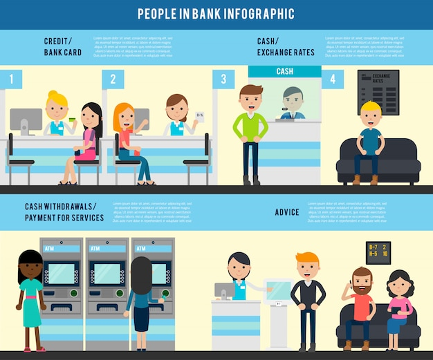 Mensen in bank flat infographic template