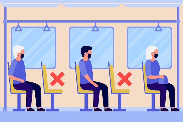 Mensen in beschermend gezichtsmasker zitten in transport metro, bus afstand houden.