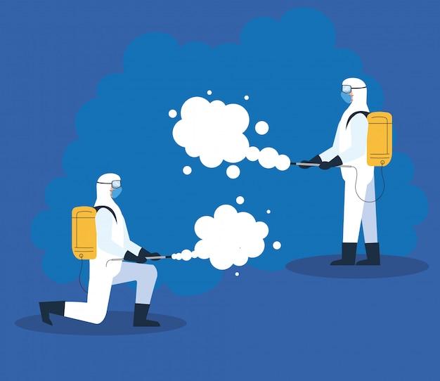 Mensen in beschermend pak of kleding, sprayen om het virus te reinigen en te desinfecteren