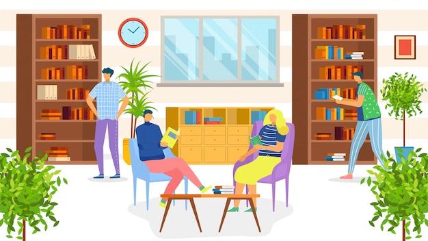 Mensen in bibliotheek die boeken lezen, studenten, kennis en onderwijsillusratie. bibliothecaris en mensen die communiceren, terwijl ze boeken meenemen, universiteits- of schoolbibliotheek. planken vol boeken.