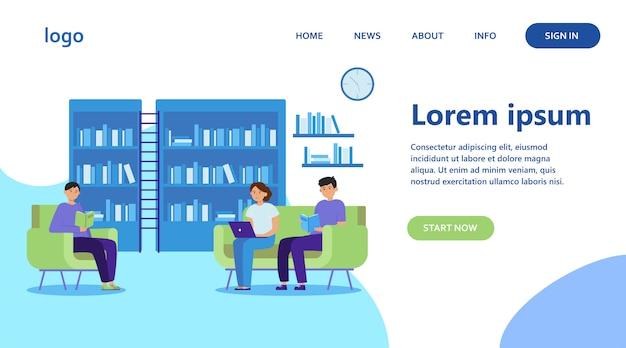 Mensen in bibliotheek platte vectorillustratie