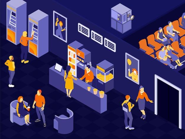 Mensen in bioscoopzaal wachten op filmtijd 3d horizontale isometrische illustratie