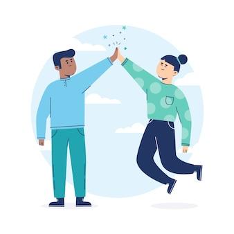 Mensen in blauwe kleding geven high five