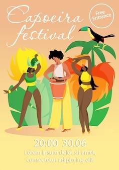 Mensen in bright braziliaanse kostuums capoeira festival