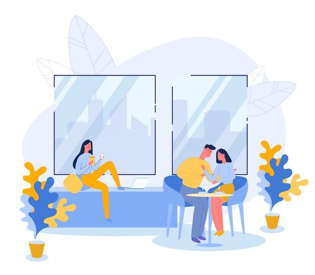 Mensen in cafe praten of online communiceren.