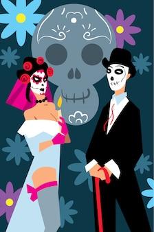 Mensen in carnaval kostuums naar mexicaans festival.