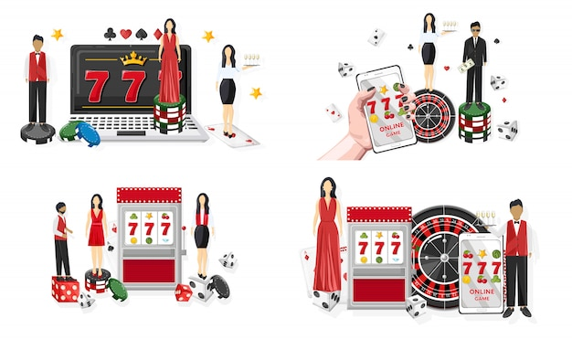 Mensen in casino. jackpot op gokautomaat en mobiele telefoon.