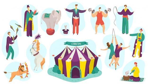 Mensen in circusvoorstelling illustratie set, leuke actieve kunstenaar stripfiguur magische show uitvoeren op wit