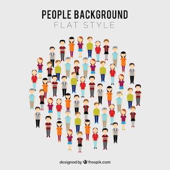 Mensen in cirkel met vlak ontwerp