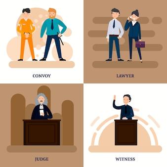Mensen in court square-samenstelling