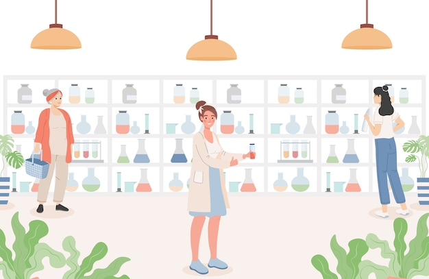 Mensen in de apotheek vlakke afbeelding. drogisterij interieur met klanten.