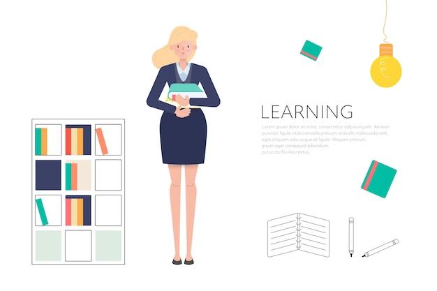 Mensen in de bibliotheek om te lezen en leren concept.