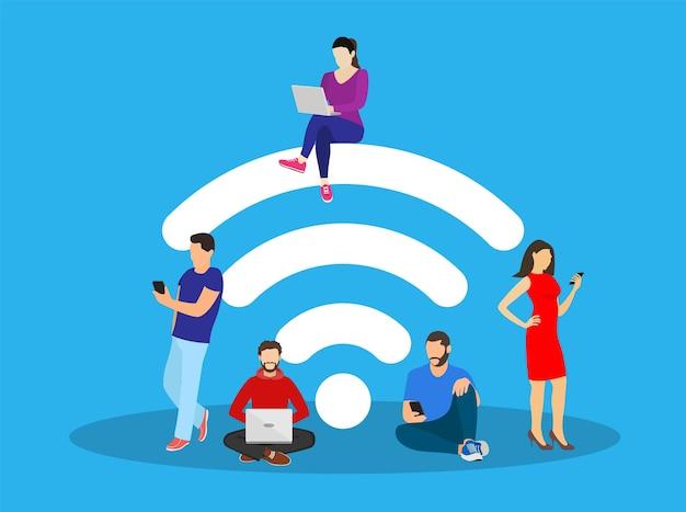 Mensen in de gratis internetzone aan het werk