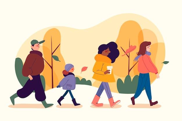 Mensen in de herfst park concept