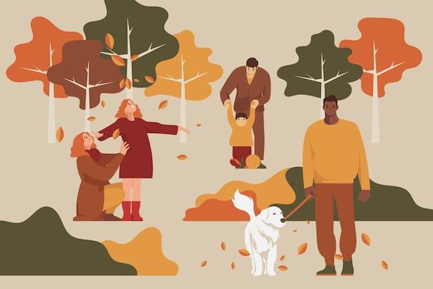 Mensen in de herfst park