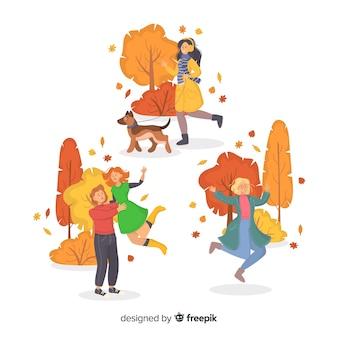 Mensen in de illustratie van het de herfstpark