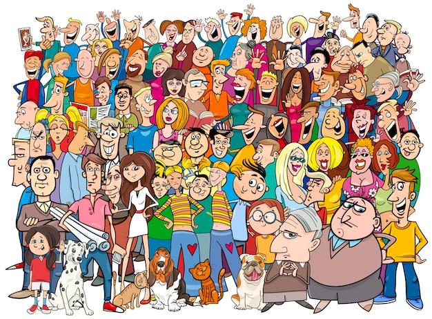 Mensen in de menigte cartoon