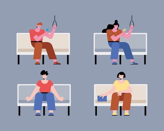 Mensen in de metro stoelen karakters