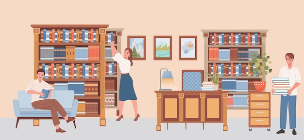 Mensen in de openbare bibliotheek vector vlakke afbeelding gelukkige mensen kiezen