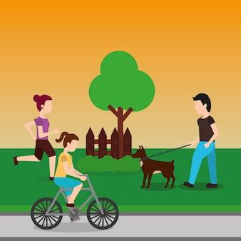 Mensen in de park rennende ritfiets en het lopen van de hond