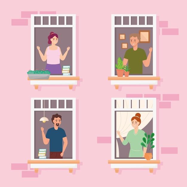 Mensen in de ramen van het appartement