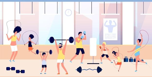 Mensen in de sportschool. gezinstraining, sport voor volwassenen en kinderen. oefeningen met barbell, man boksen met jongen. ouders en kinderen actieve vectorillustratie. gym training oefening, activiteit en gezond