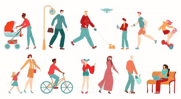 Mensen in de stad, voetgangers geïsoleerd op een witte achtergrond cartoon afbeelding.