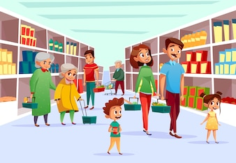 Mensen in de supermarkt. Platte cartoon van familie moeder, vader en kinderen