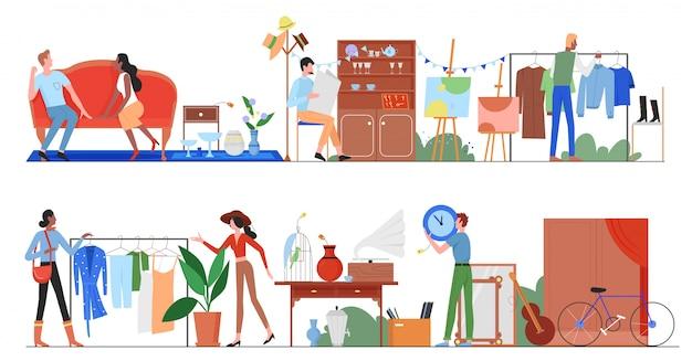 Mensen in de verkoopillustratie van de vlooienmarkt. cartoon platte man, vrouw shopper tekens kopen oude tweedehands kleding en accessoires in straat bazaar stad met marktkraam set geïsoleerd op wit